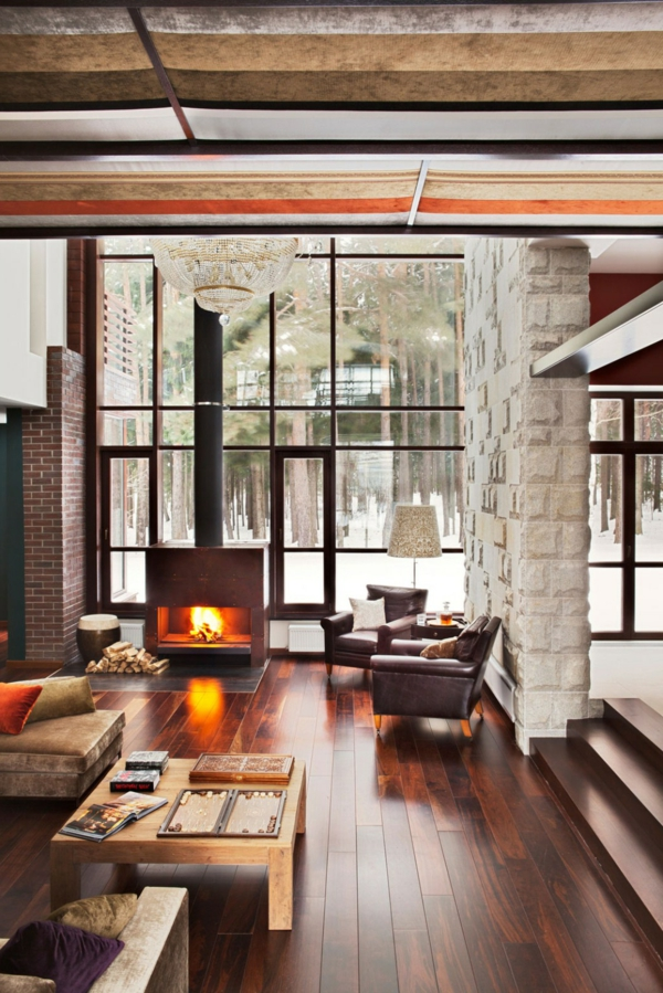 gemütliches wohnzimmer kamin panoramafenster