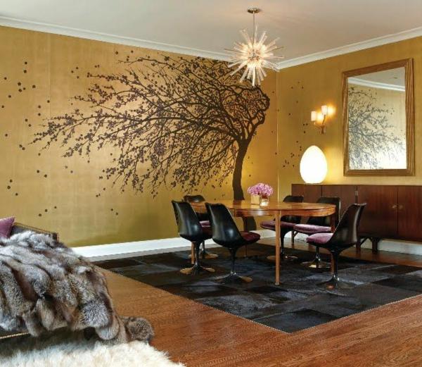 goldene tapeten strahlen w rme aus und sorgen f r magische. Black Bedroom Furniture Sets. Home Design Ideas