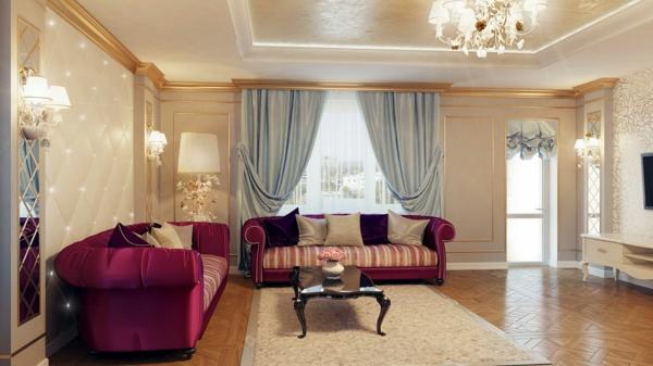 goldene tapeten passen zu violette couch