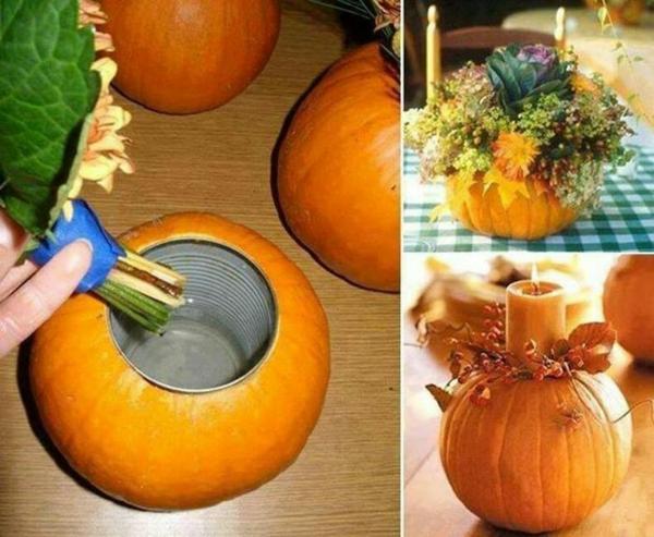 halloween deko ideen aus kürbissen vase kerzenständer