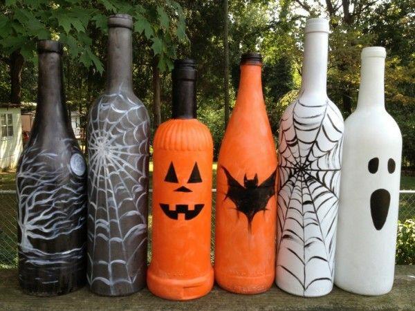 halloween deko ideen flaschen färben