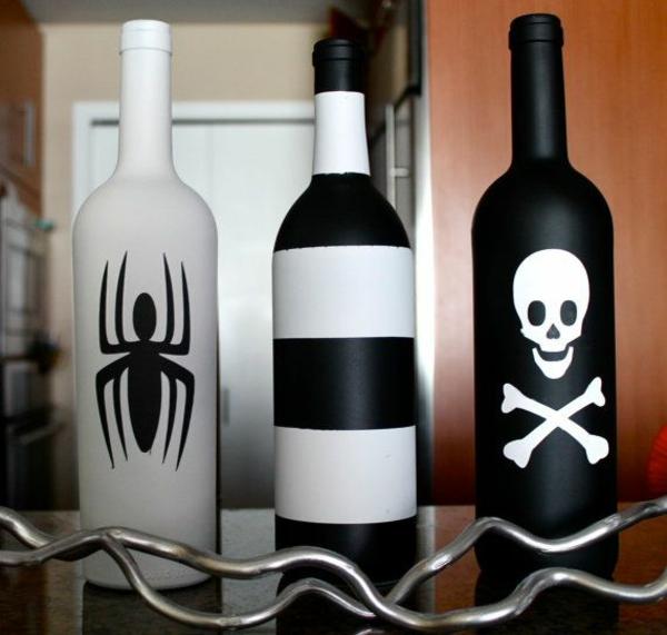 halloween deko ideen flaschen schwarz weiß