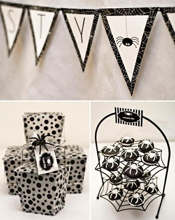 halloween deko ideen spinnen wanddeko geschenkverpackung ständer