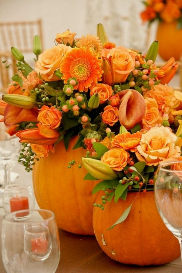 halloween deko kleine vase selber machen kürbisse herbstblumen