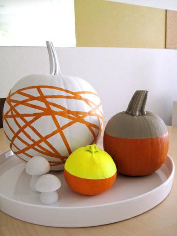 halloween weiß orange selber machen fun servierbrett kürbisse