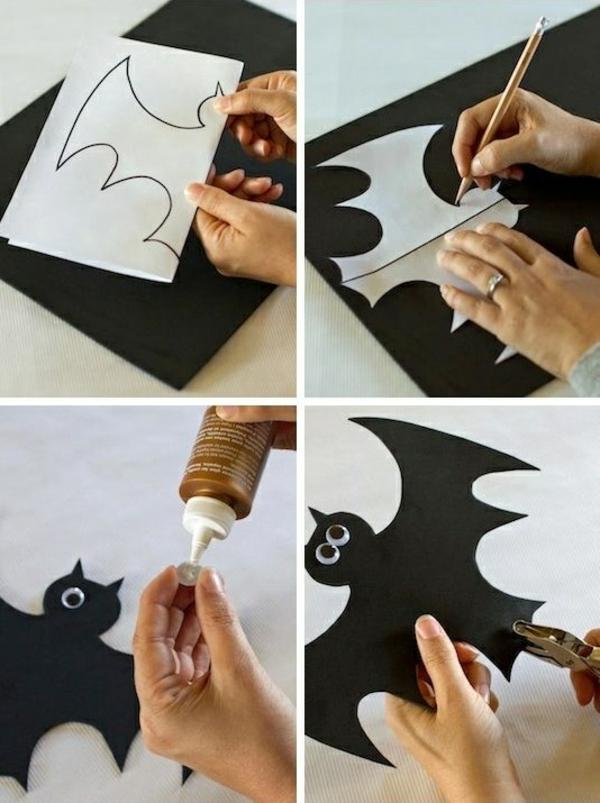 halloween dekoration im garten flesdermaus aus papier basteln