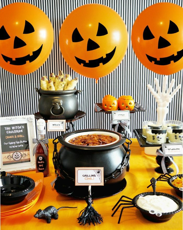 halloween party thematisches buffet deko ideen