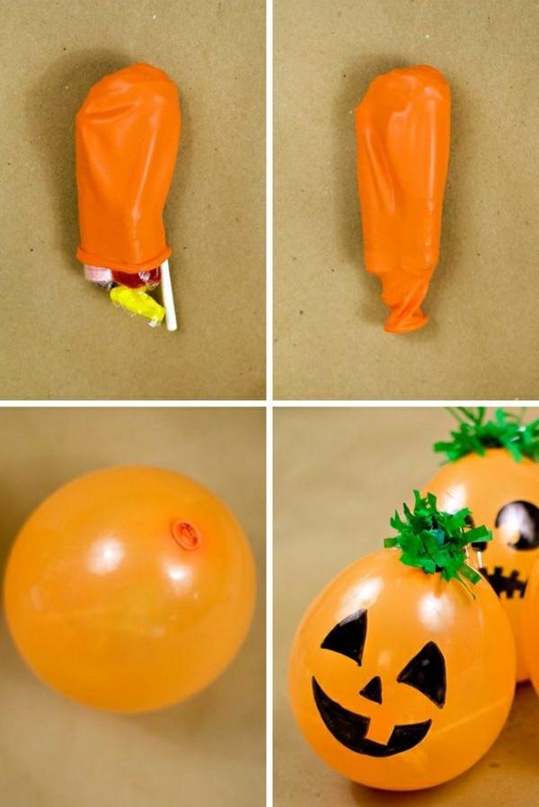 halloween süßes oder saures päckchen orange luftballon kreative bastelideen