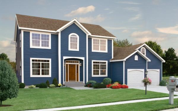 Hausfassaden Farben Blau Farbgestaltung Ideen