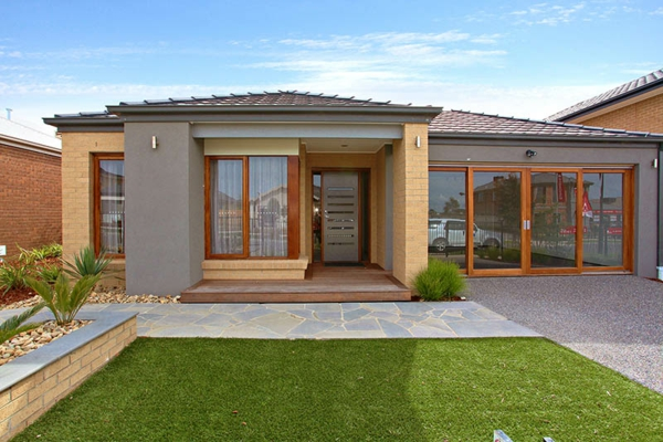 Hausfassaden Farben Gelb Grau Braun Farbgestaltung Ideen