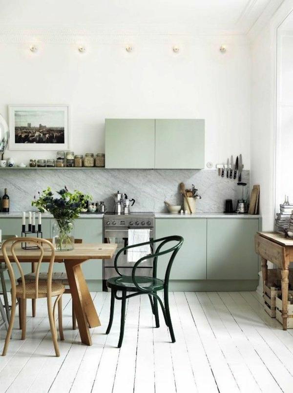 helle wandfarben grüne farbnuancen küche einrichten farbideen