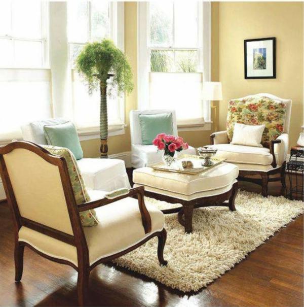 heller teppich als wonzimmer dekoration