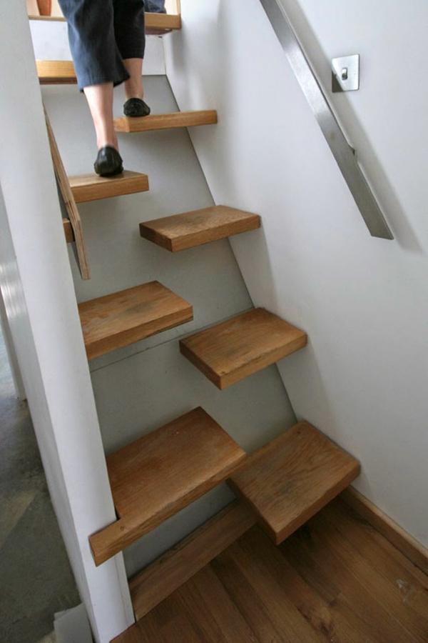 holz treppen trittstufen halbiert treppenhaus ideen