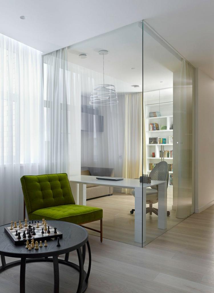 innendesign ideen entspannungsbereich arbeitsbereich glaswände
