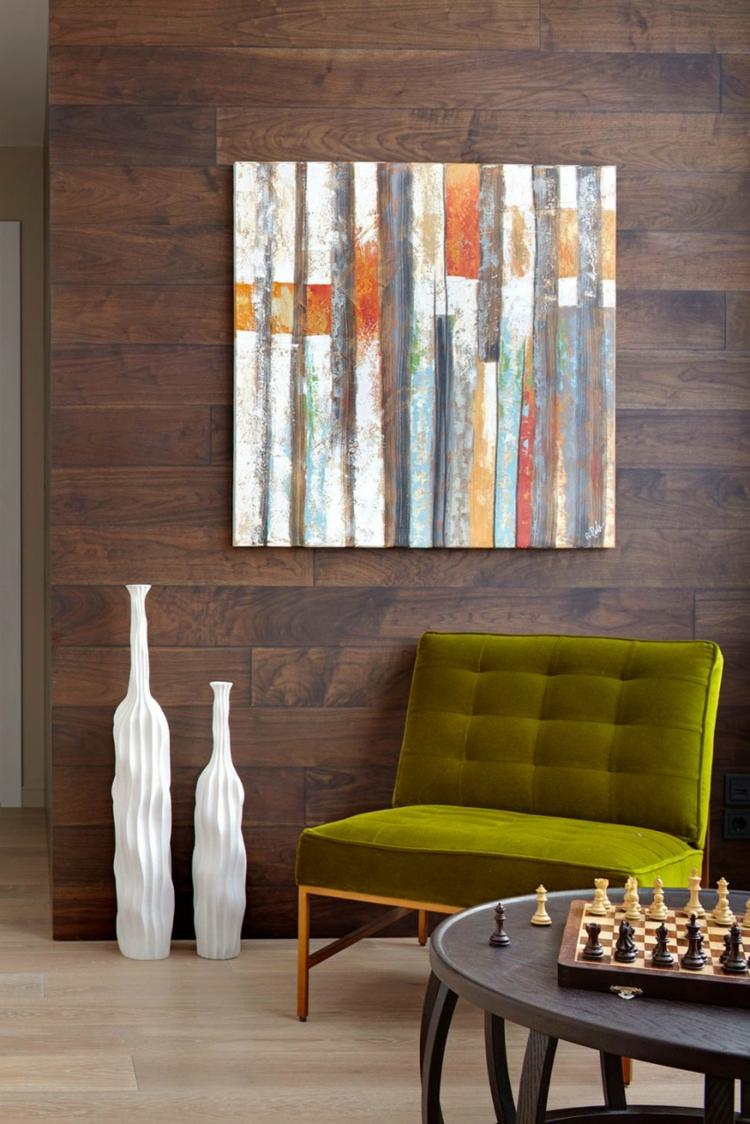 innendesign ideen entspannungsbereich gestalten deko kunstwerke polstersessel couchtisch