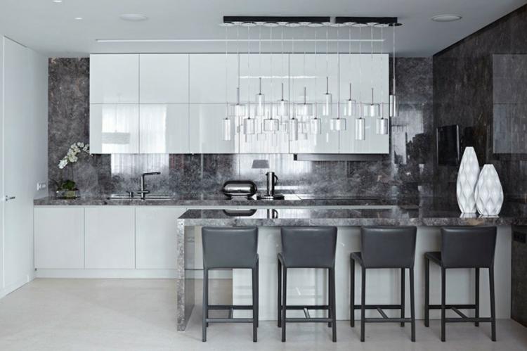 innendesign ideen küche einrichtungsideen kücheninsel arbeitsplatte rückwand marmor