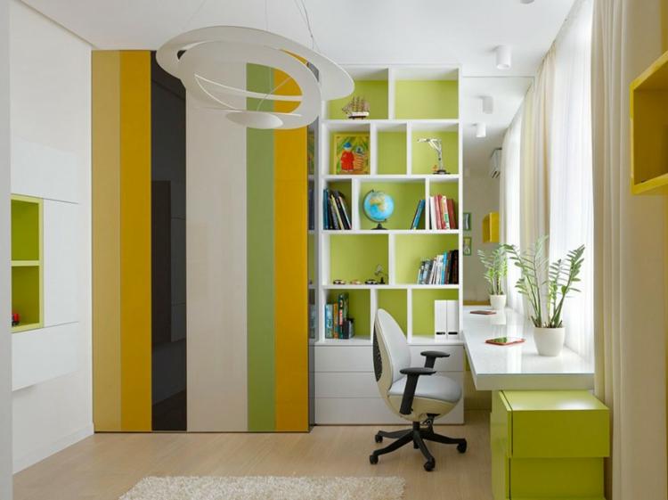 Innendesign Ideen Kinderzimmer Gestalten Lernecke Schreibtisch Bücherregal  Frische Farbgestaltung
