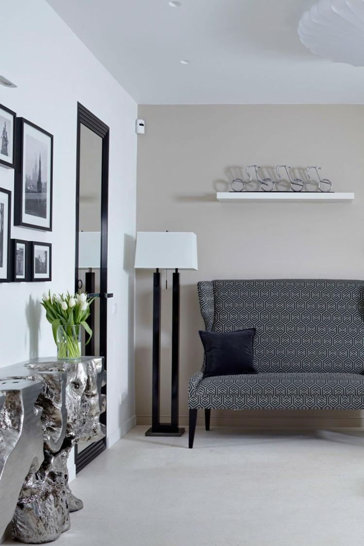 innendesign ideen wandgestaltung bilder kunstwerke sofa geometrisches dessin