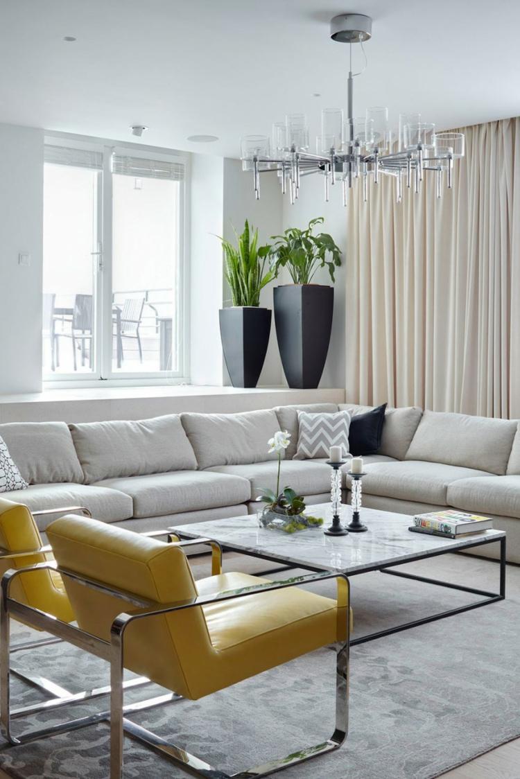 Innendesign Ideen Wohnzimmer Gestalten Ecksofa Polstersessel Couchtisch Zimmerpflanzen