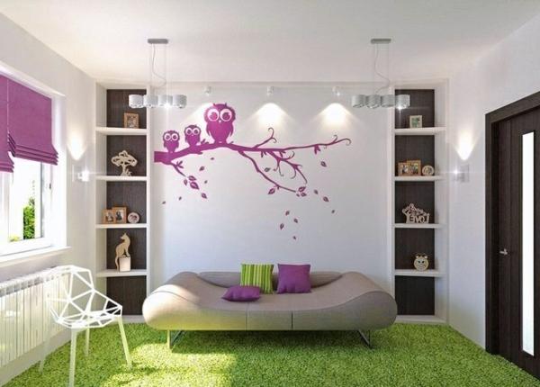 innendesign ideen wohnzimmer violette akzente