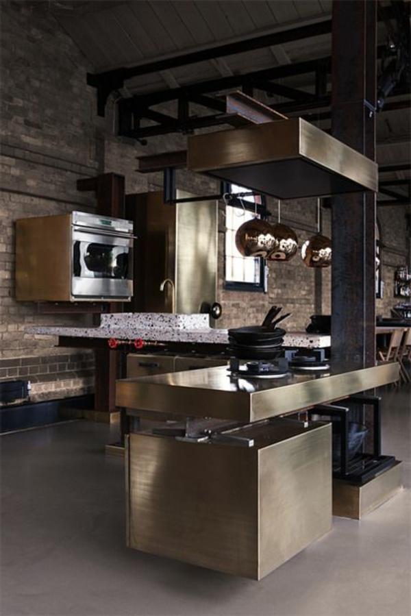 interieur elemente aus bronze küche
