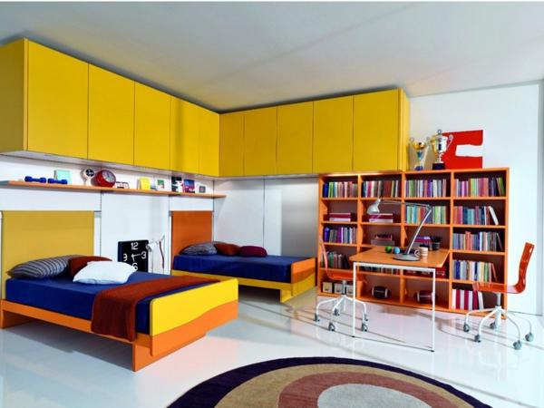 jugendzimmer gestalten gelbe wandschränke