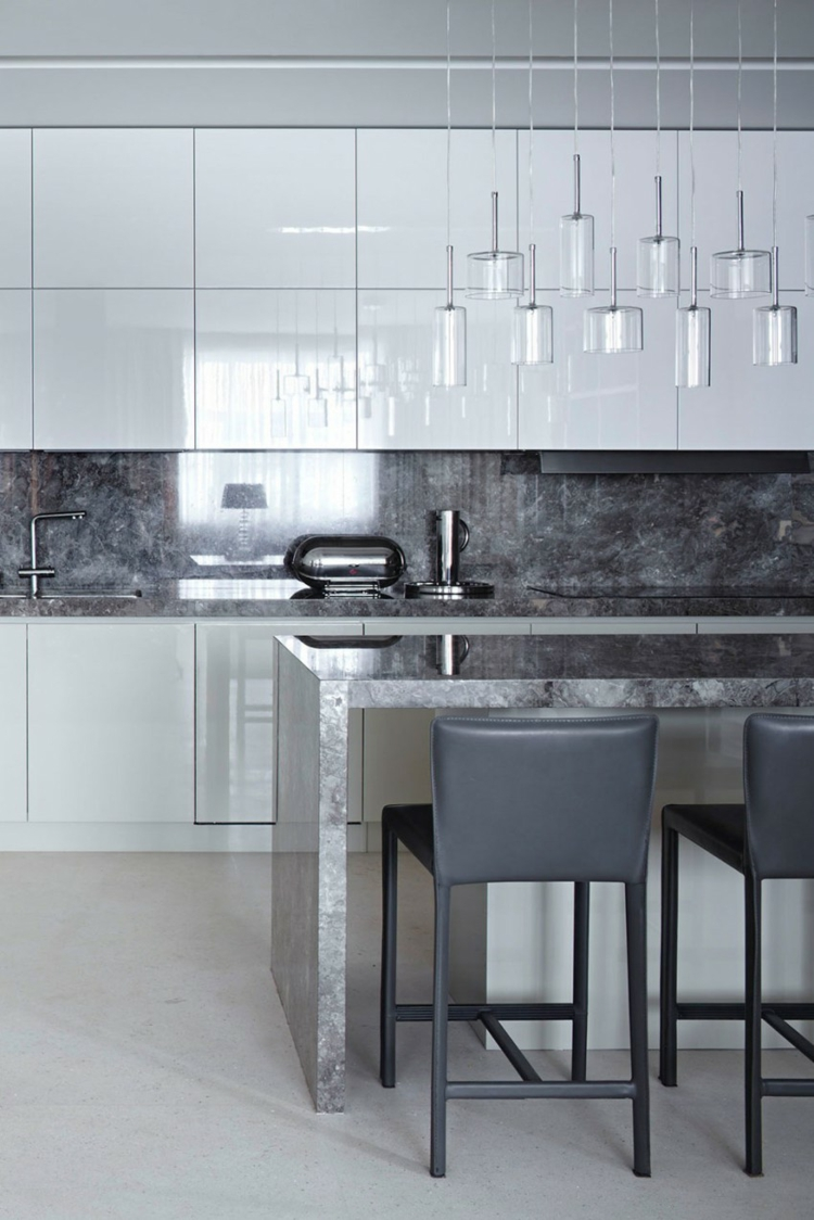 küche einrichtungsideen kücheninsel arbeitsplatte rückwand marmor