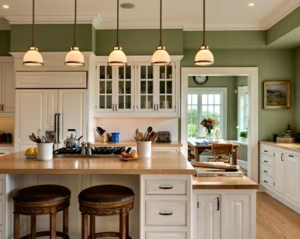 küche gestalten wandgestaltung salbeigrün