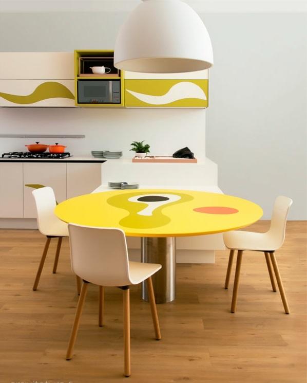 kücheneinrichtung ideen küchenausstattung küchenmöbel esstisch rund gelb stühle