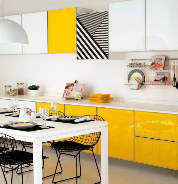 kücheneinrichtung ideen küchenmöbel gelb farben