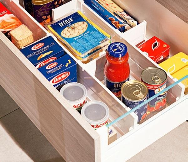 kücheneinrichtung ideen - schränke, bänke, organizer, accessoires - Schubladen Ordnungssystem Küche