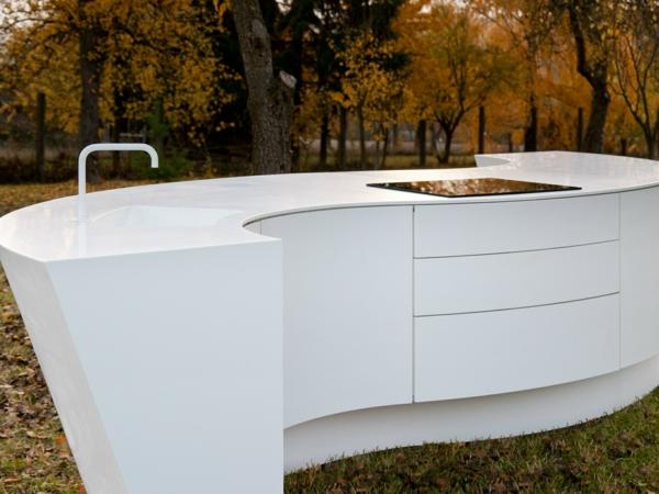 kücheninsel design minimalistisch weiß
