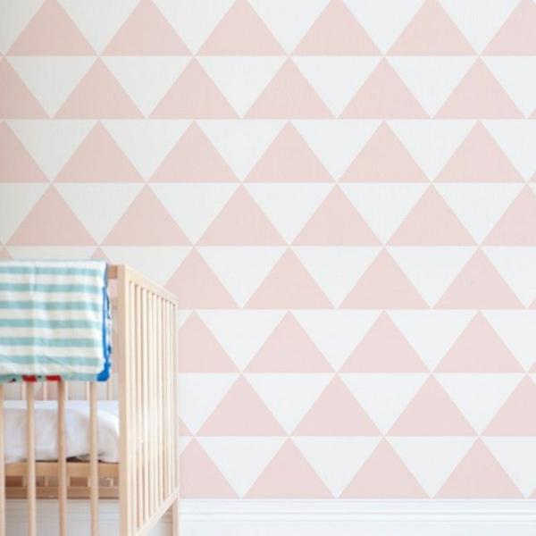 kinderzimmer tapeten wandgestaltung tapetenmuster geometrische muster dreiecken