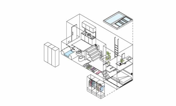 kleine wohnung einrichten vertikale einrichtungsideen wohnplan skizze