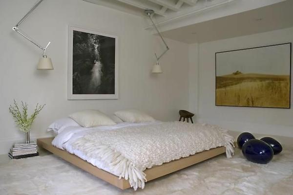 loft apartment wandgestaltung dachfenster bett