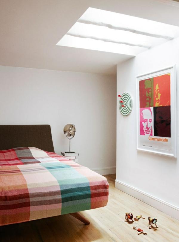 loft apartment wandgestaltung dachfenster schlafzimmer