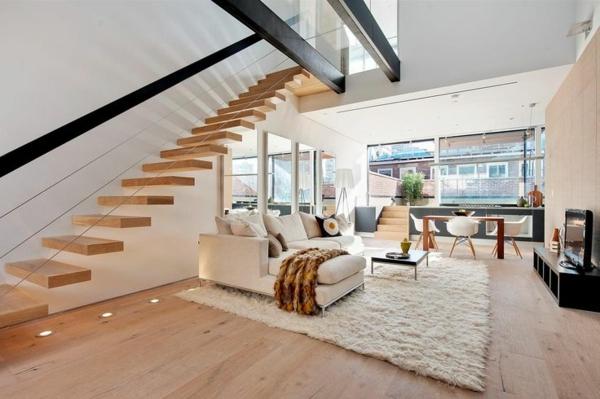 apartment wandgestaltung dachfenster treppe schwebend