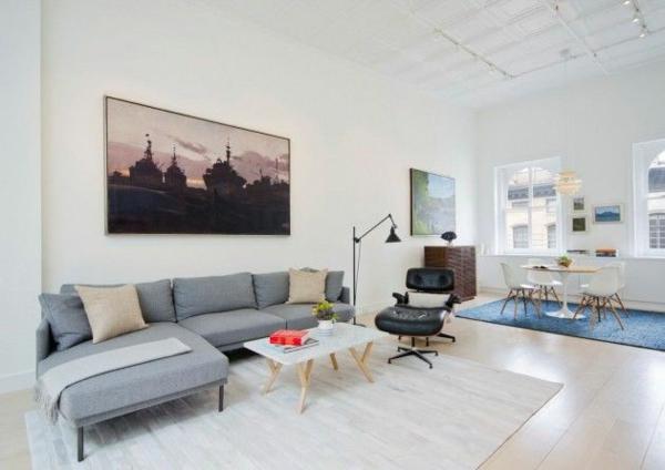 loftwohnung apartment wandgestaltung dachfenster weiß ambiente