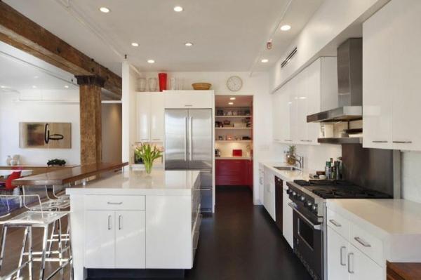 loftwohnung küchenhocker kühlschrank innenarchitektur design glanz