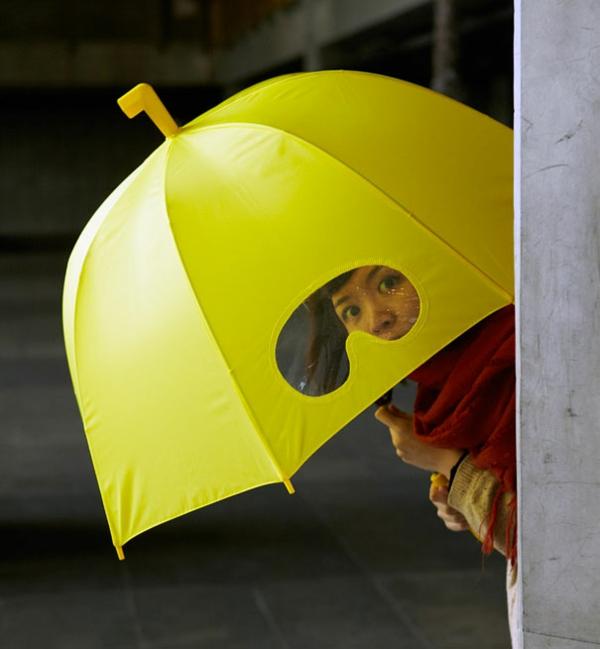 schöne regenschirme gelb asiatisch brille