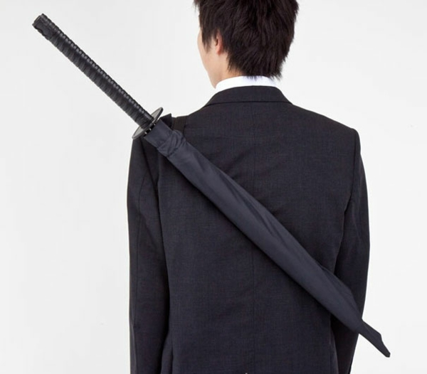 lustige samurai jack regenschirme schwert rücksack