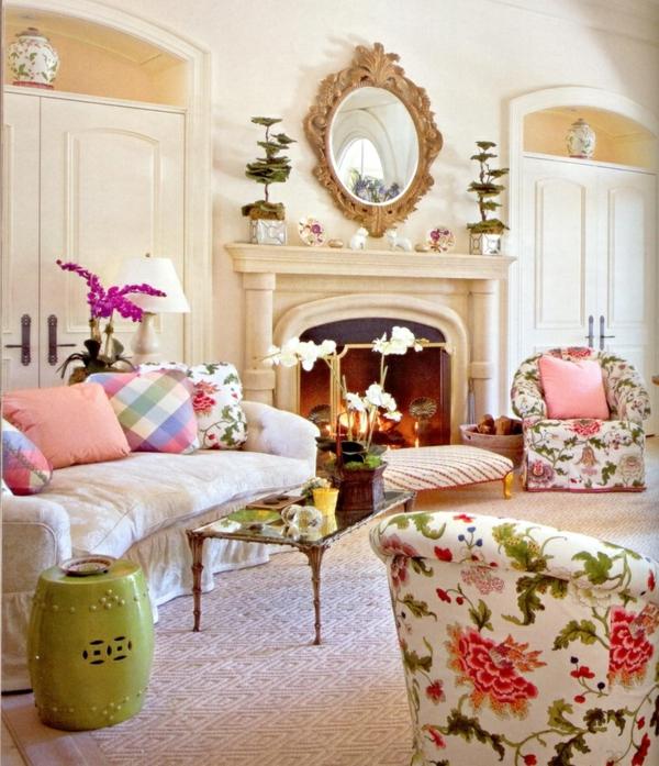 möbel wohnzimmer sofa mit blumenmuster