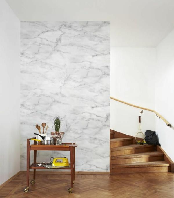 Naturstein Tapeten Design : – Tapete Stein Holz U Pflanzen Design Tapete In Naturstein Optik