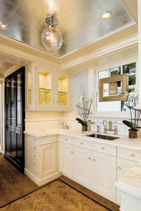 metallic decke moderne küche design