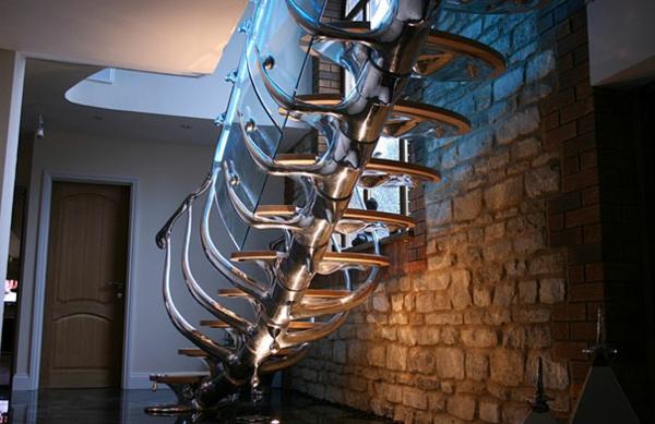 moderne architektur treppenhaus gestalten wirbelsäule struktur glas geländer