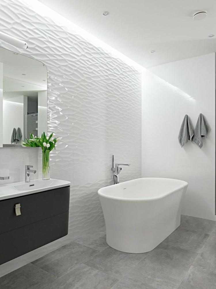 moderne badezimmer freistehende badewanne bodenfliesen betonoptik kreative wandgestaltung