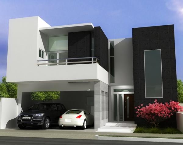 moderne fassade grau weiß