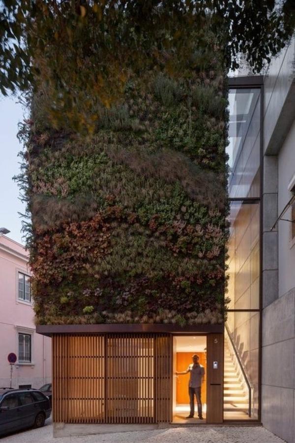 moderne hausfassade mit grün