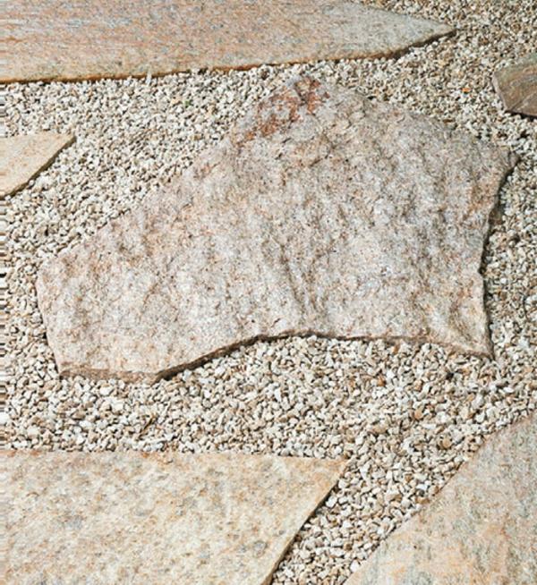 moderne wohnideen boden kieselsteine