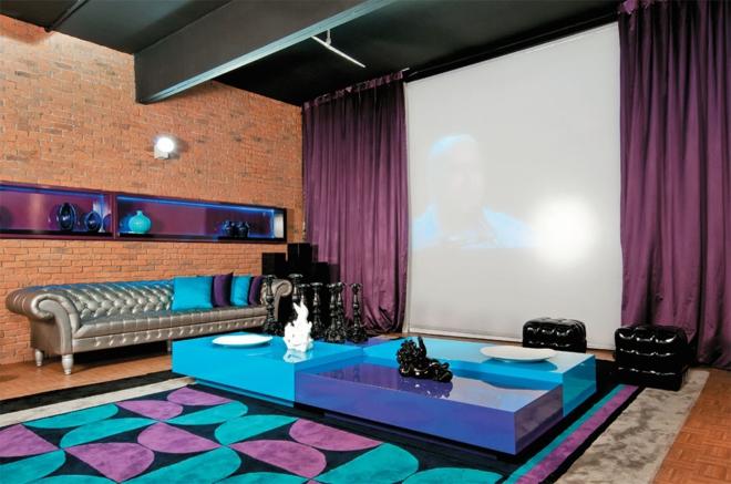 Moderne Wohnwand Wohnzimmer Designer Möbel Heimkino Vorhänge Lila Blau